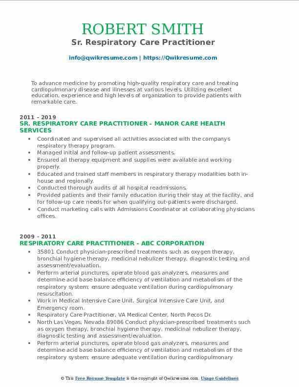 Sr. Respiratory Care Practitioner Resume Template