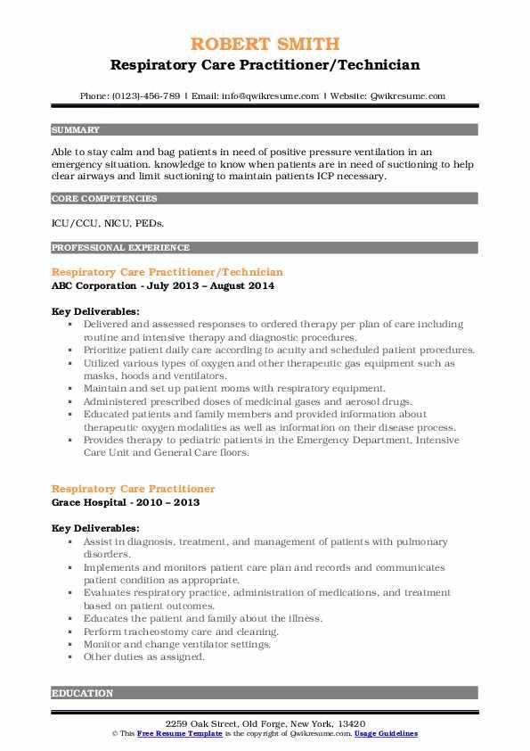 Respiratory Care Practitioner/Technician Resume Format