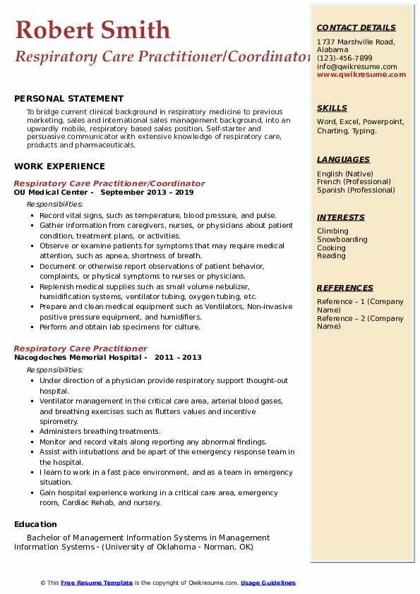 Respiratory Care Practitioner/Coordinator Resume Format