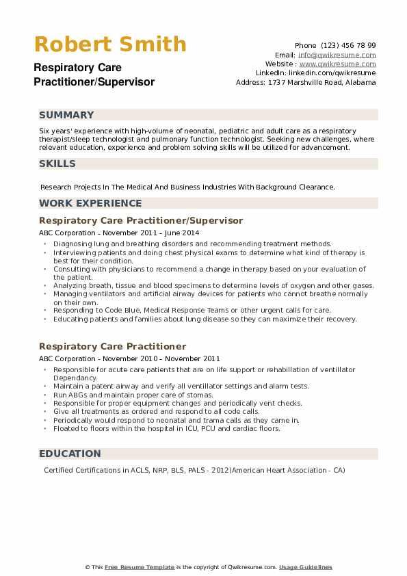 Respiratory Care Practitioner/Supervisor Resume Format