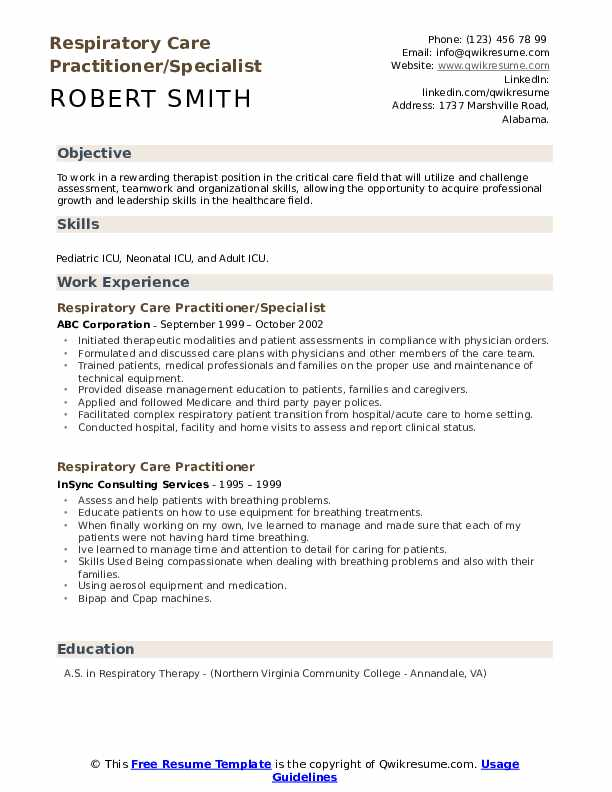 Respiratory Care Practitioner/Specialist Resume Sample