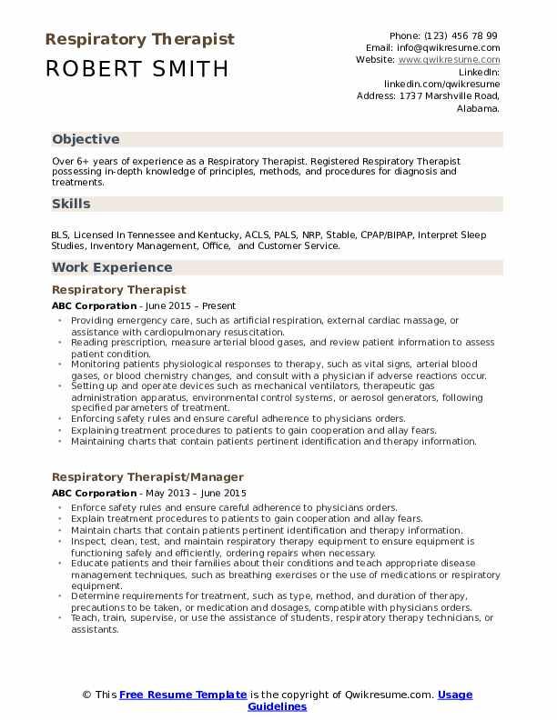 Respiratory Therapist  Resume Format