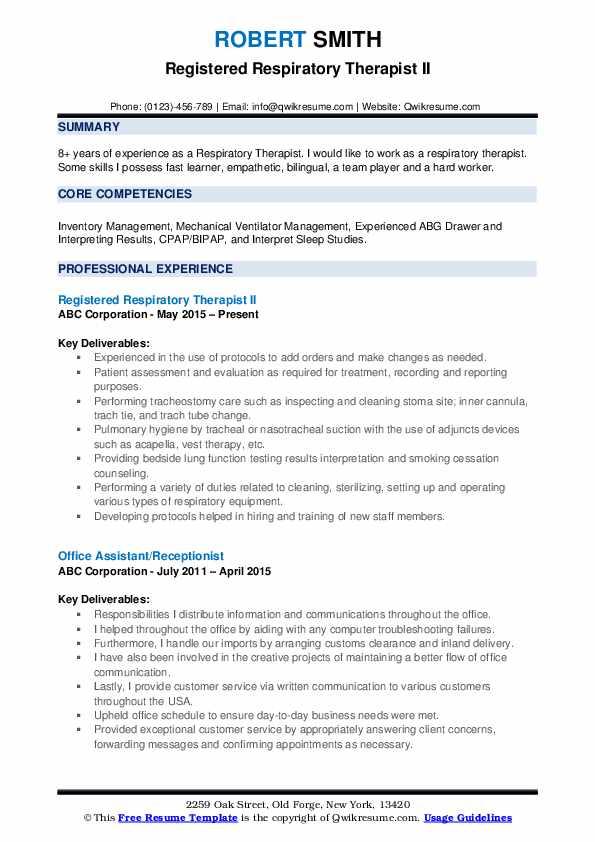 Registered Respiratory Therapist II Resume Sample