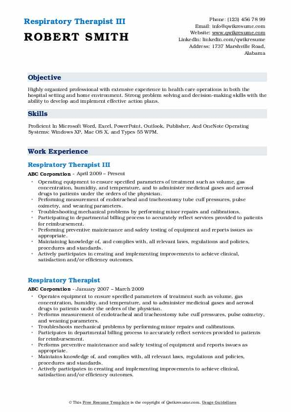 Respiratory Therapist III Resume Sample