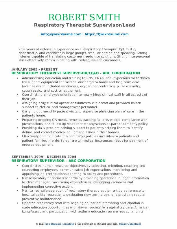 Respiratory Therapist Supervisor/Lead Resume Sample
