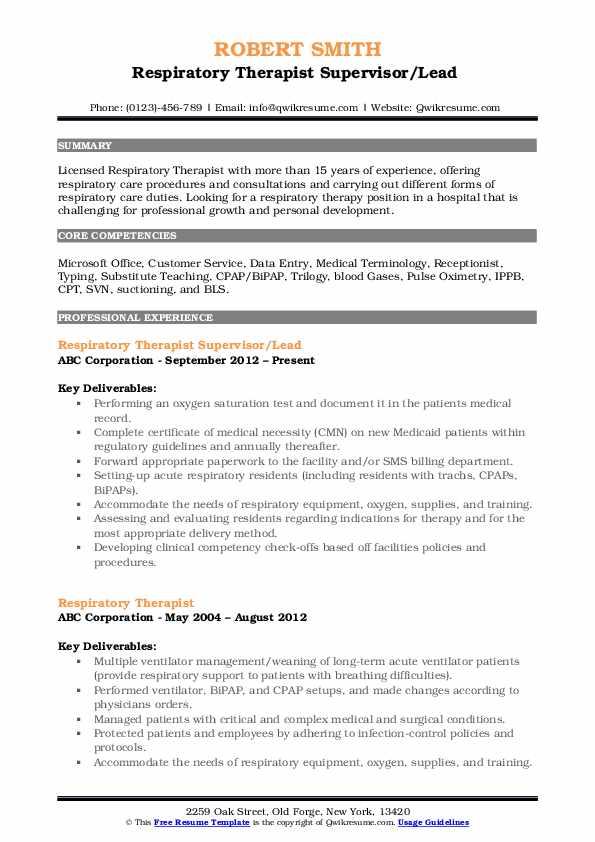Respiratory Therapist Supervisor/Lead  Resume Model