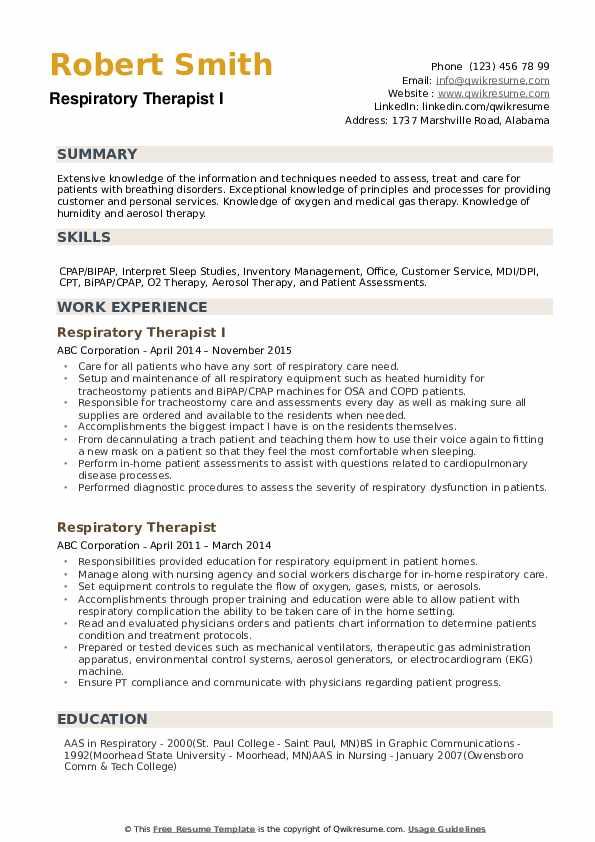 respiratory therapist resume samples