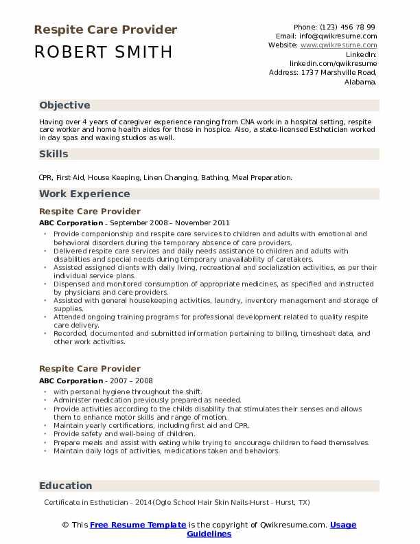 Respite Care Provider Resume Template