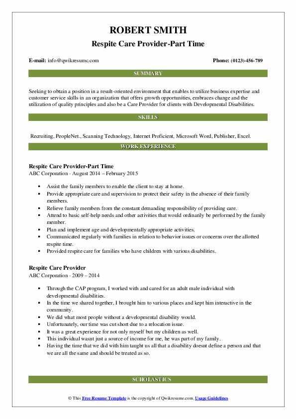 Respite Care Provider-Part Time Resume Model