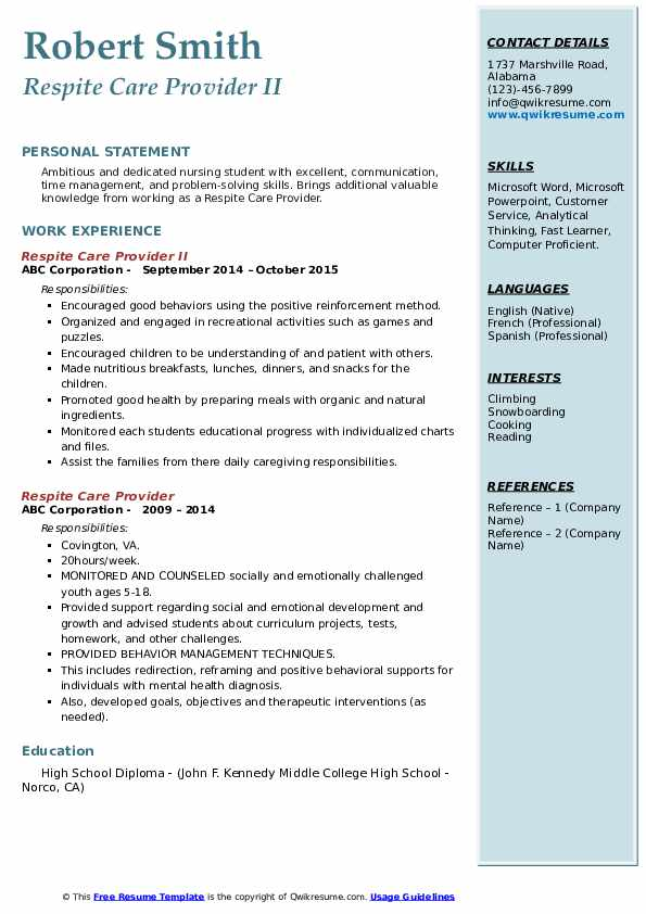 Respite Care Provider Resume Samples Qwikresume
