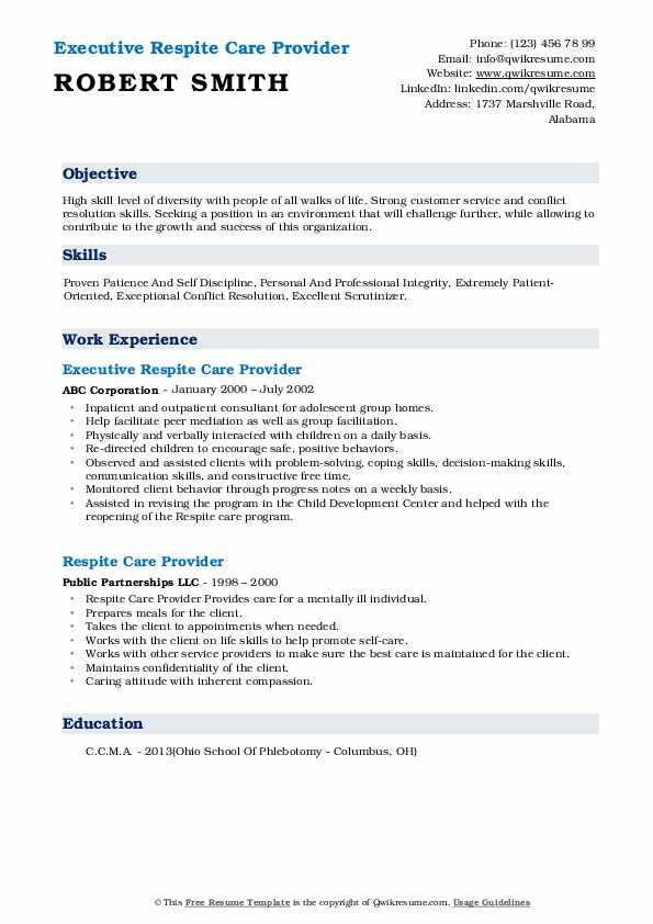 Executive Respite Care Provider Resume Model