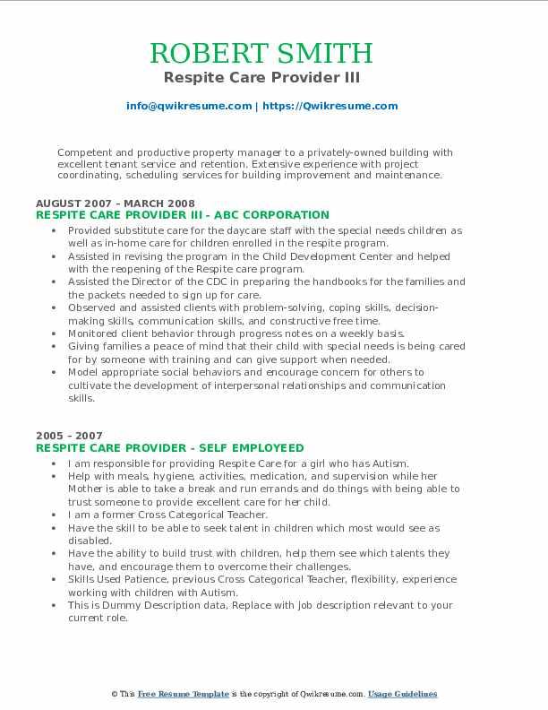 respite care provider resume samples