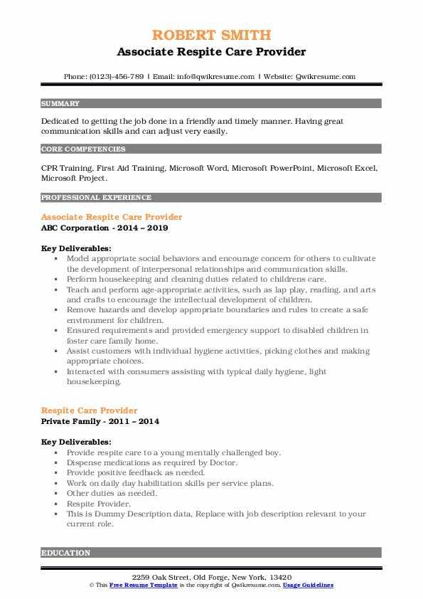 Associate Respite Care Provider Resume Model
