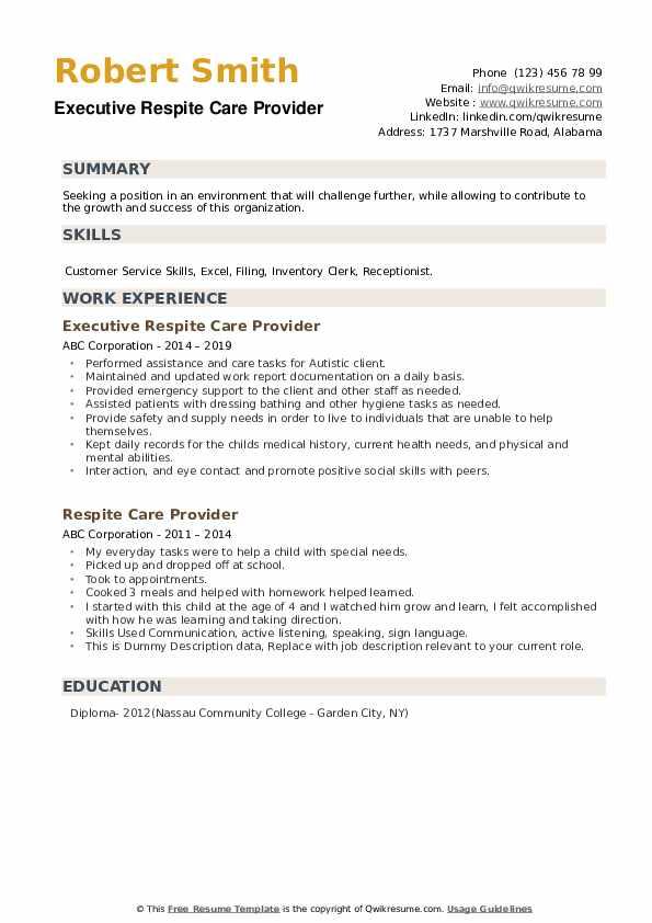 Executive Respite Care Provider Resume Sample