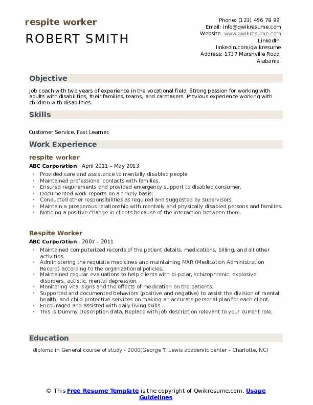 Respite Worker Resume example