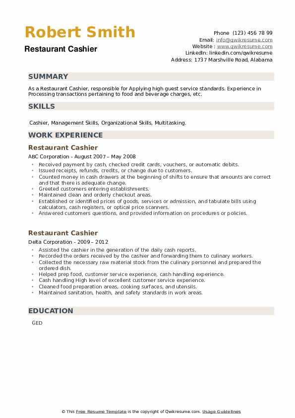 Restaurant Cashier Resume example