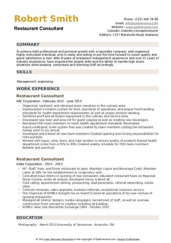 Restaurant Consultant Resume example