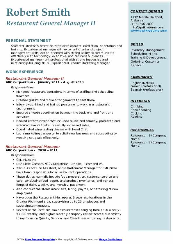 Restaurant General Manager Resume Samples Qwikresume