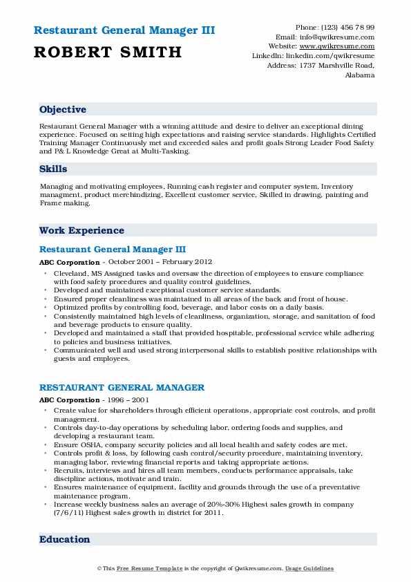 Restaurant General Manager III Resume Sample