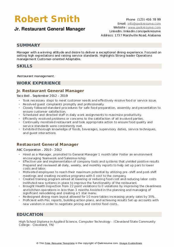 Jr. Restaurant General Manager Resume Format