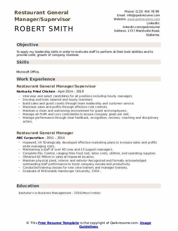 Restaurant General Manager/Supervisor Resume Model