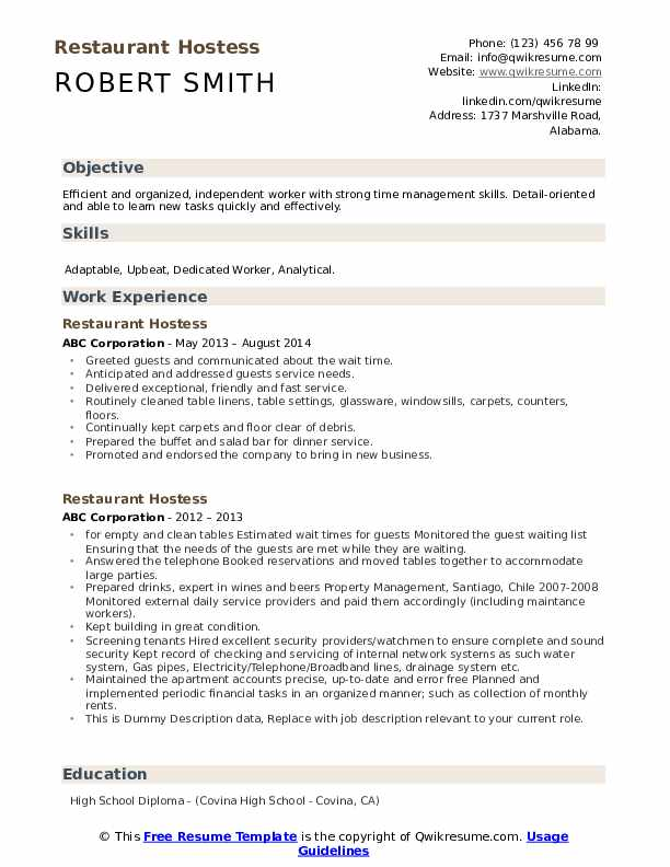 Restaurant Hostess Resume example