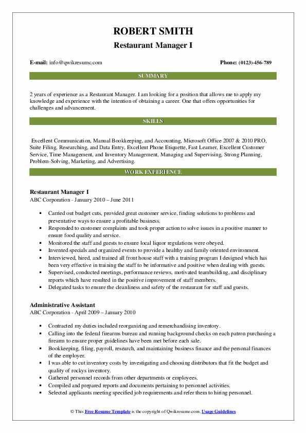 Restaurant Manager I Resume Format