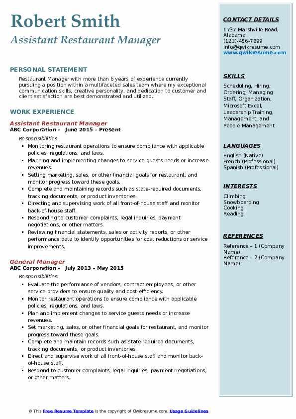 Assistant Restaurant Manager Resume Format
