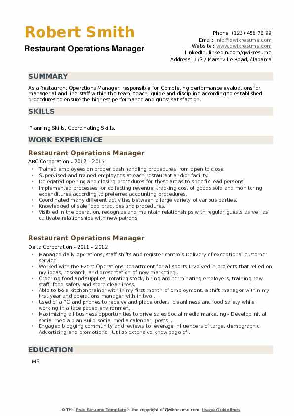 Restaurant Operations Manager Resume example