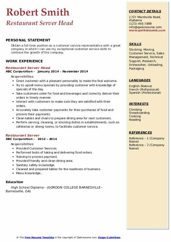 Restaurant Server Head Resume Format