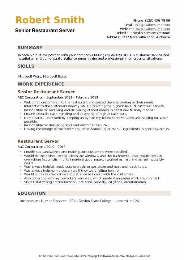 Senior Restaurant Server Resume Model