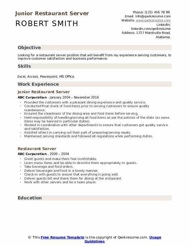 Junior Restaurant Server Resume Format