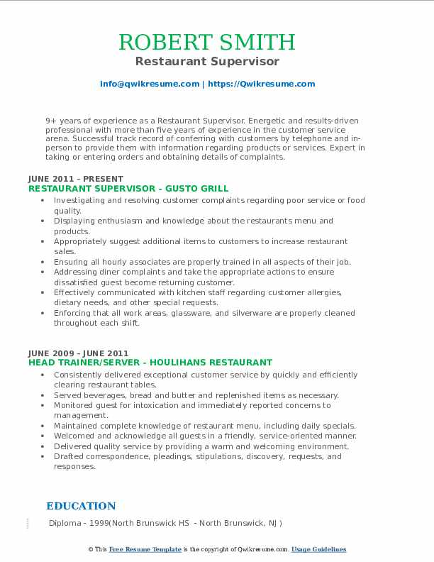 Restaurant Supervisor Resume Samples | QwikResume