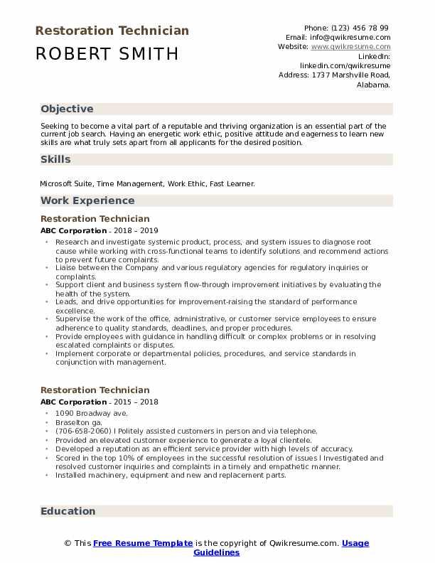 Restoration Technician Resume Model