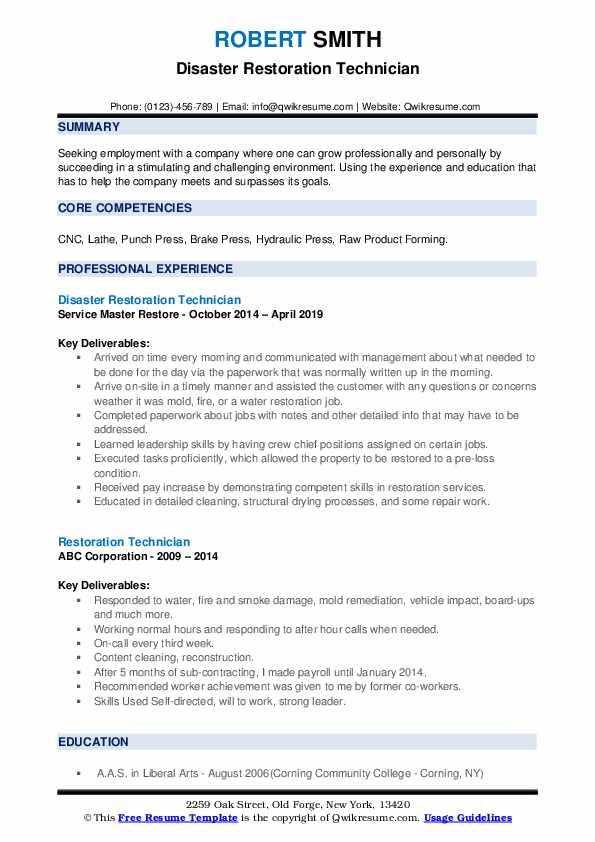 Disaster Restoration Technician Resume Example