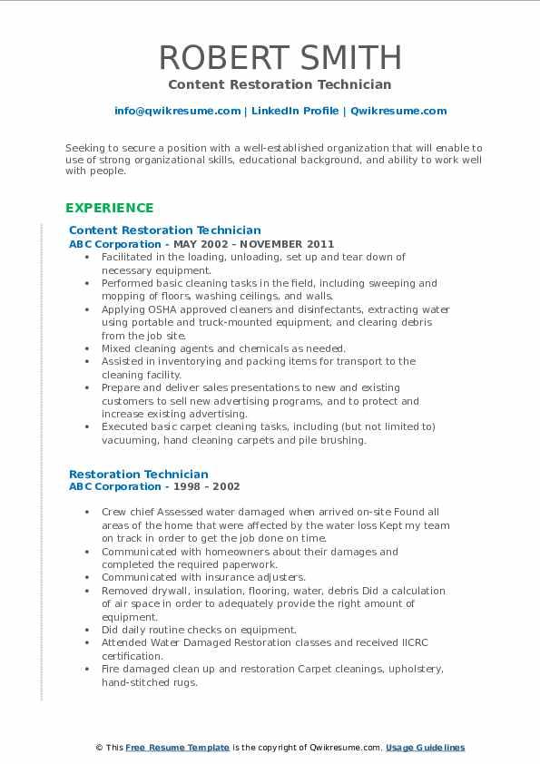 Content Restoration Technician Resume Sample