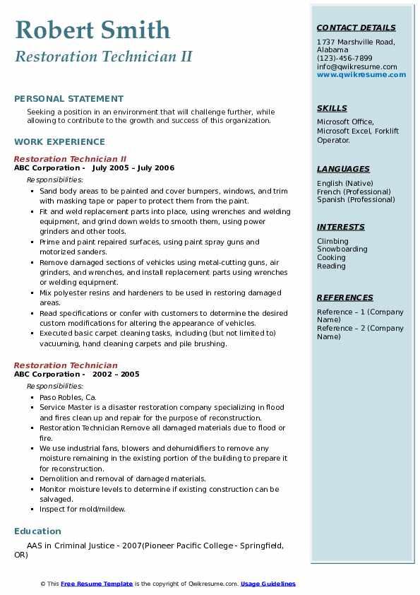 Restoration Technician II Resume Model