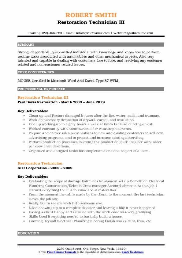 Restoration Technician III Resume Model