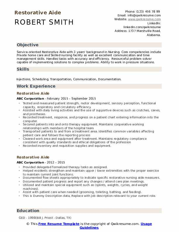 Restorative Aide Resume example