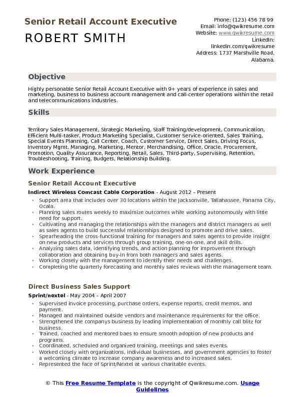 Retail Account Executive Resume Samples | QwikResume