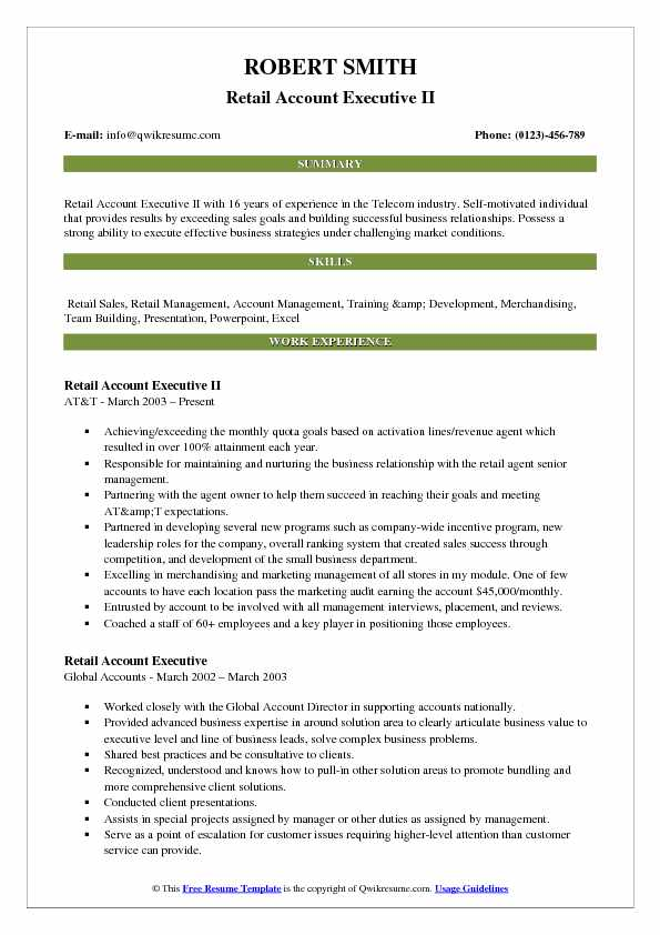 Retail Account Executive Resume Samples QwikResume