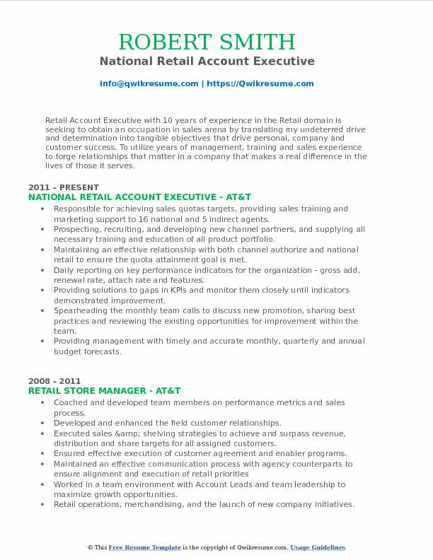 National Retail Account Executive Resume Model