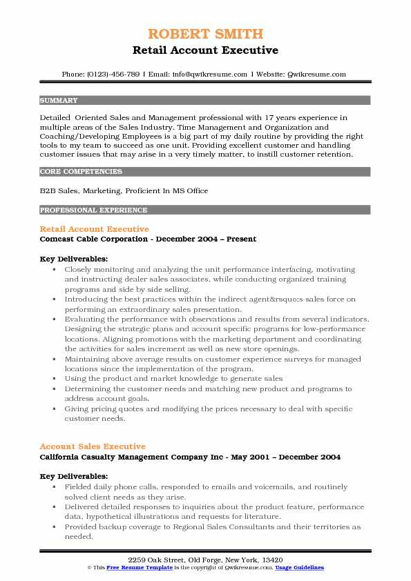 Retail Account Executive Resume Sample