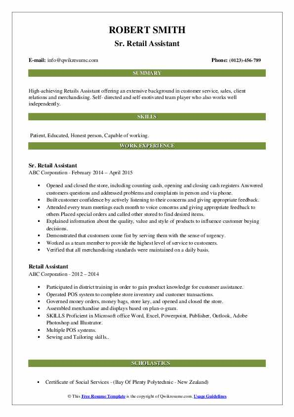 Sr. Retail Assistant Resume Format