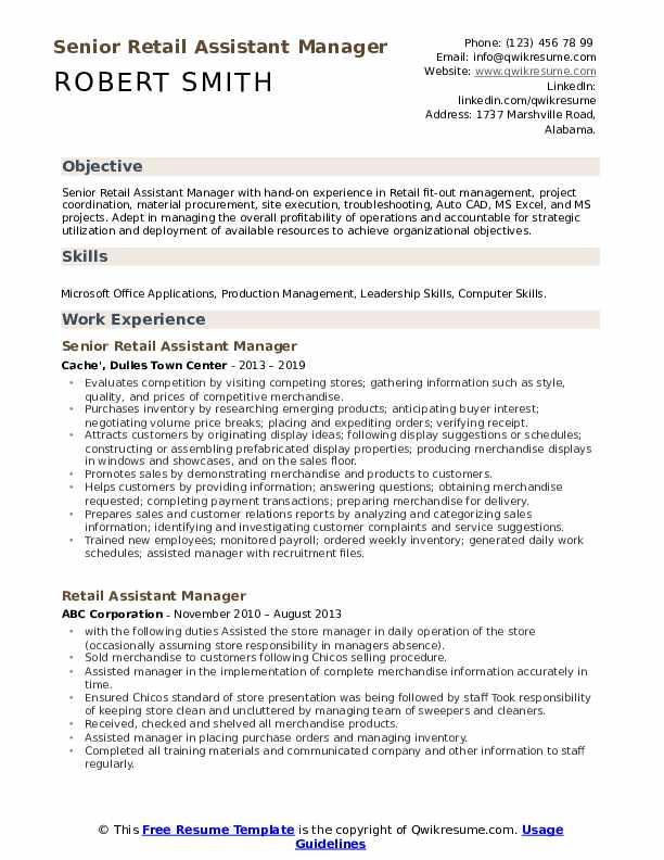 Senior Retail Assistant Manager Resume Model