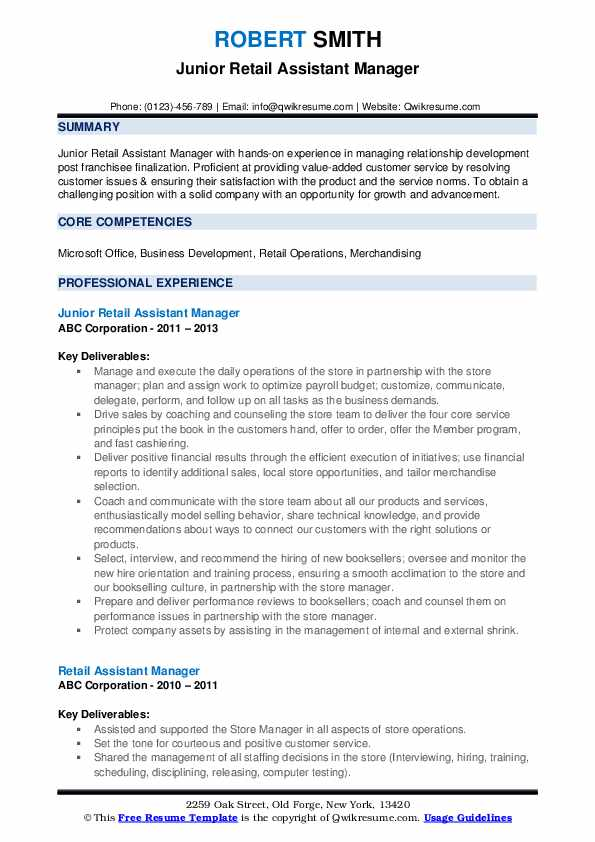 Junior Retail Assistant Manager Resume Example