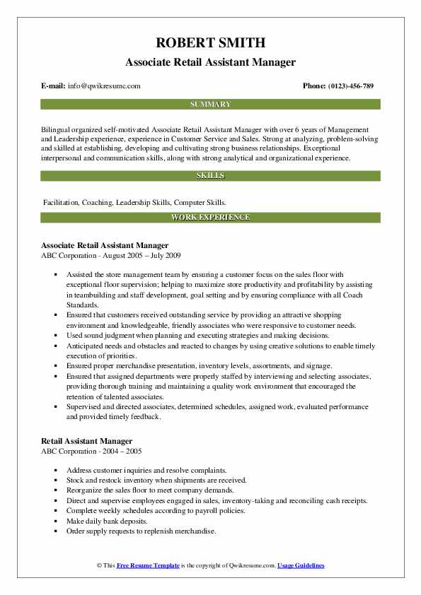 Associate Retail Assistant Manager Resume Format