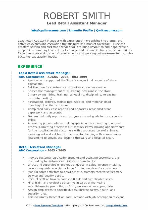 Lead Retail Assistant Manager Resume Template