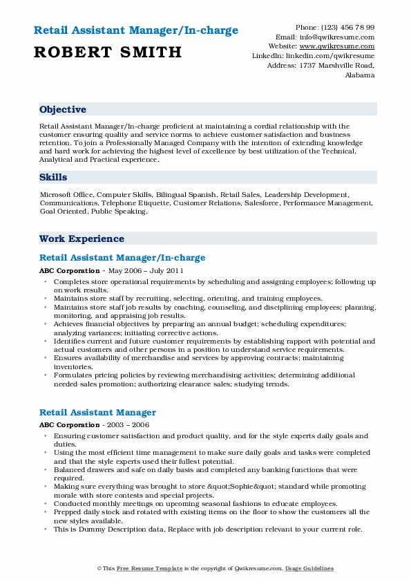 Retail Assistant Manager/In-charge Resume Format