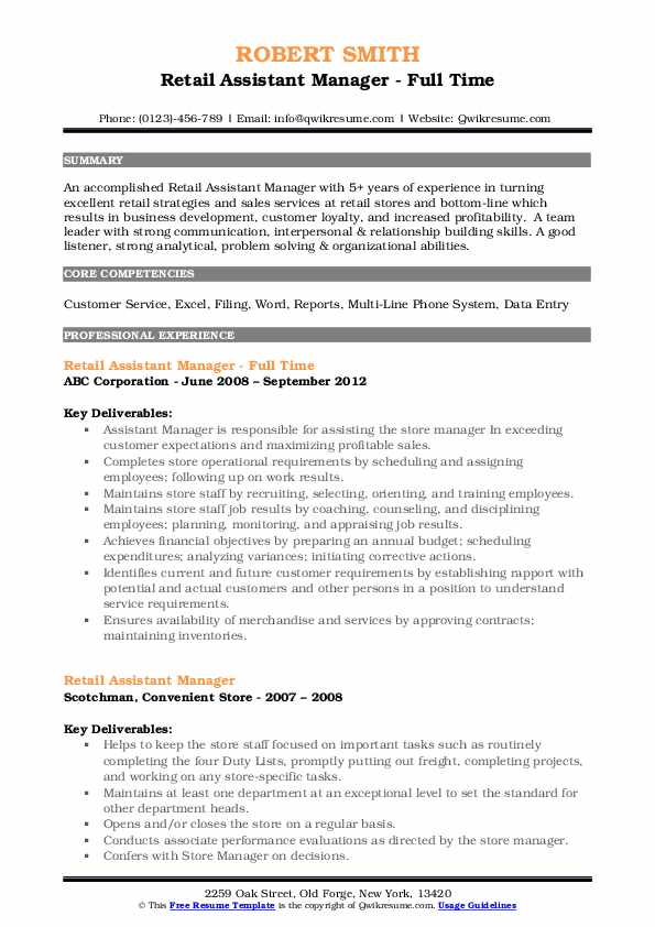 Retail Assistant Manager - Full Time Resume Example